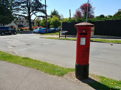 Photograph of Pillar box GR at the junction of Pine Grove and Georges Wood Road, Brookmans Park Image from the North Mymms History Project released under Creative Commons