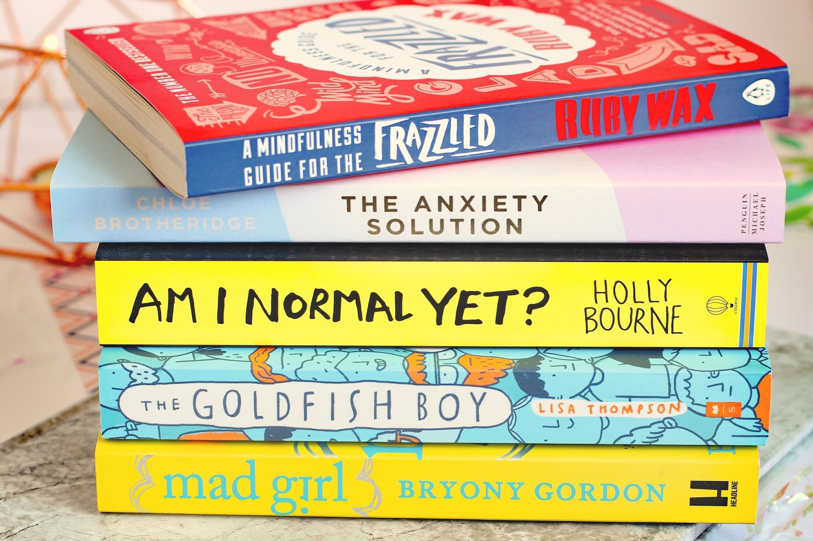 My Top Five Mental Health Books Whsmiths Amazon Waterstones help support advice anxiety panic attacks self harm self-help mind OCD depression