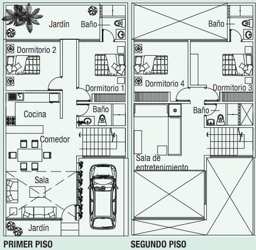 Planos de casa en 120m2 con doble altura planos de casas - Altura de un piso ...