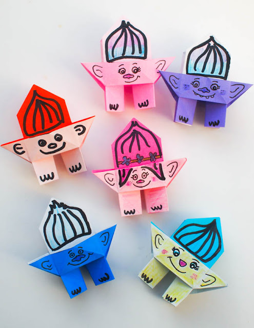 how to fold origami troll dolls- such a fun project to do with any troll loving kids!