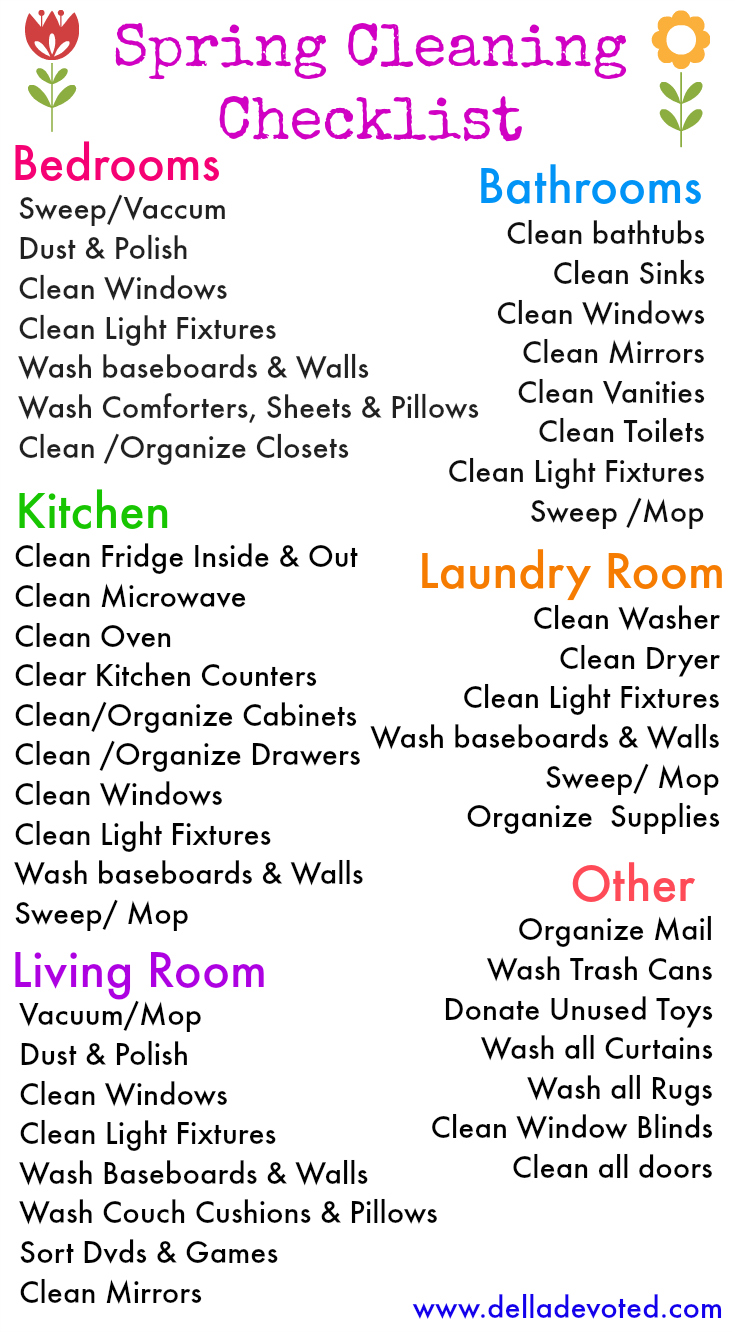 Colorful Spring Cleaning Checkliste Illustration - FORTSETZUNG ...