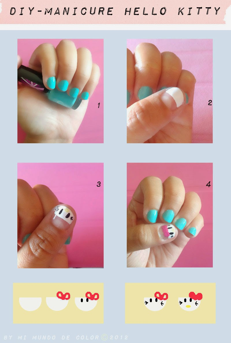 diy manicure hello kitty