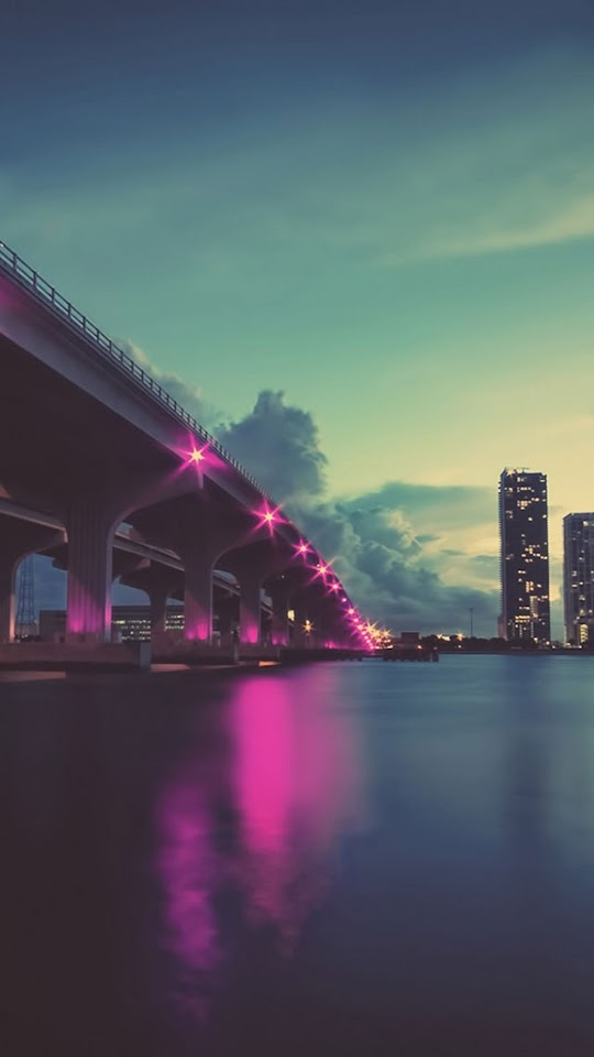 Purple Bridge Lights Water Reflection  Galaxy Note HD Wallpaper