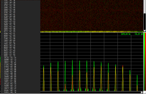 [Image: Screenshot of Baudline showing lots of frequency spikes, and next to it a CSV list of dozens of frequencies and power readings in the Vim editor.]