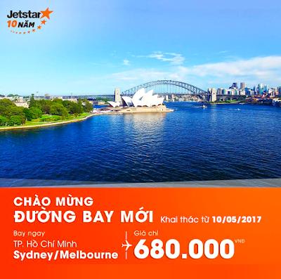 Bay từ Sài Gòn đi Úc giá chỉ 680.000 VNĐ