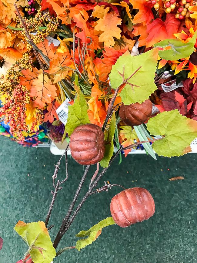 Dollar Tree leaf and pumpkin fall picks