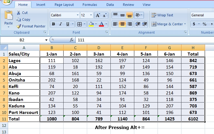 sum data inn Microsoft Excel
