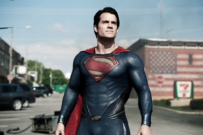 Henry Cavill as Kal-El aka Clark Kent aka Superman in Man of Steel, wearing the new Superman costume, Directed by Zack Synder