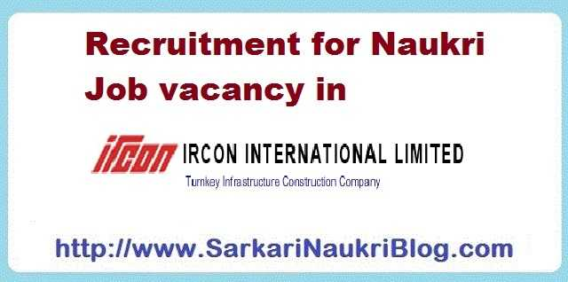 Naukri Vacancy Recruitment IRCON International