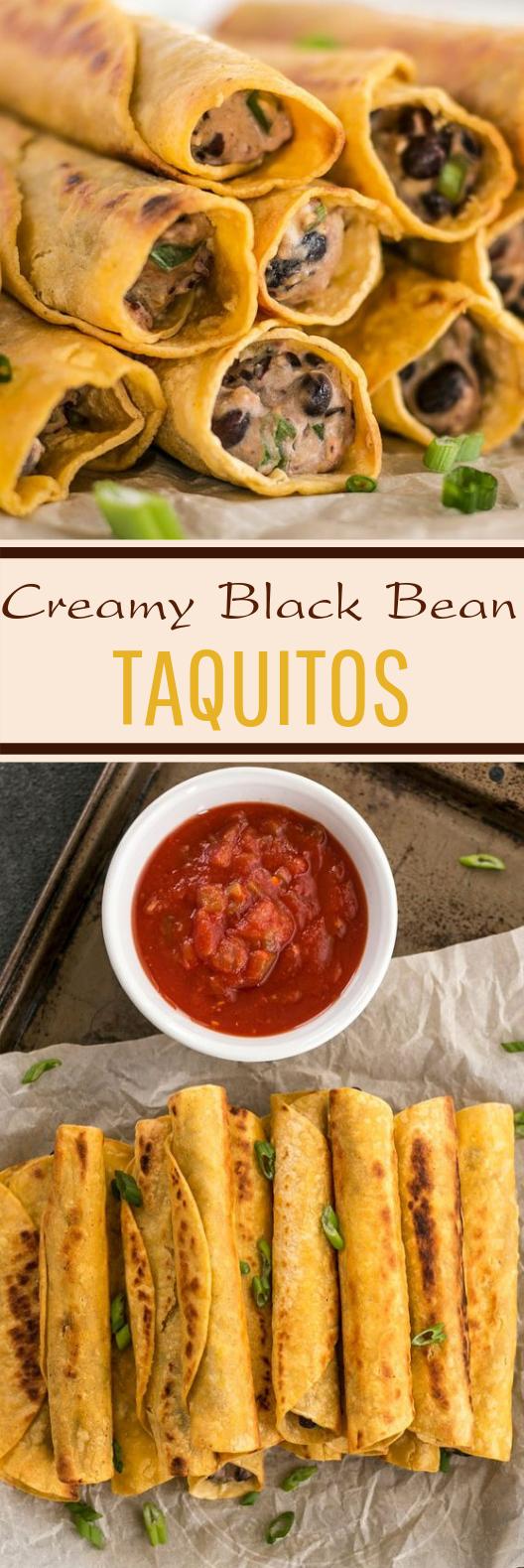 Creamy Black Bean Taquitos #lunch #vegetarian