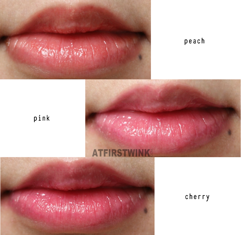 eSpoir tint lip treatment peach pink cherry lip swatches