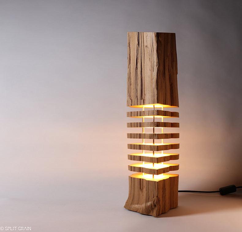 Lámparas minimalistas hecha con rodajas de leña por Split Grain