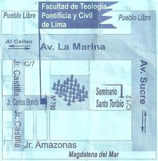 Imagen escaneada del plano de Facultad de Teologia Pontificia y Civil de Lima para confirmación