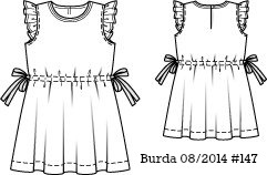 Burda 08/2014 #147 striped girl dress www.loweryourpresserfoot.blogspot.com