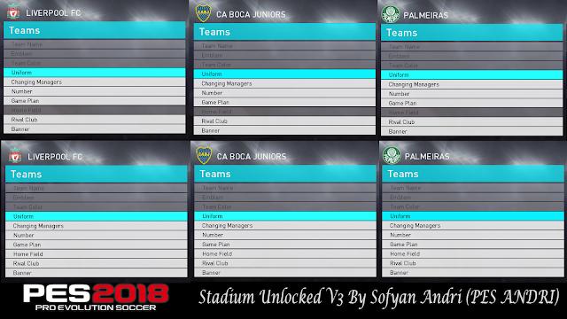 PES 2018 Stadium Unlockd V3 dari Sofyan Andri