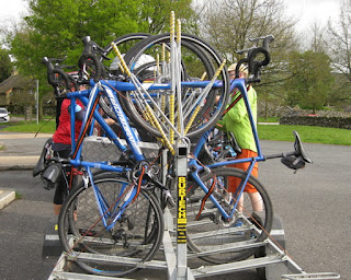 Wilderness Scotland guides loading bikes for transit from Grassington to Malham, England