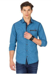 Mufti Blue Cotton Casual Shirt