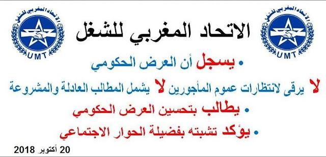 بلاغ الأمانة الوطنية للاتحاد المغربي للشغل لمجريات الحوار الاجتماعي ومستجداته