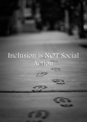 shaded image of footsteps with the words Inclusion is NOT social action
