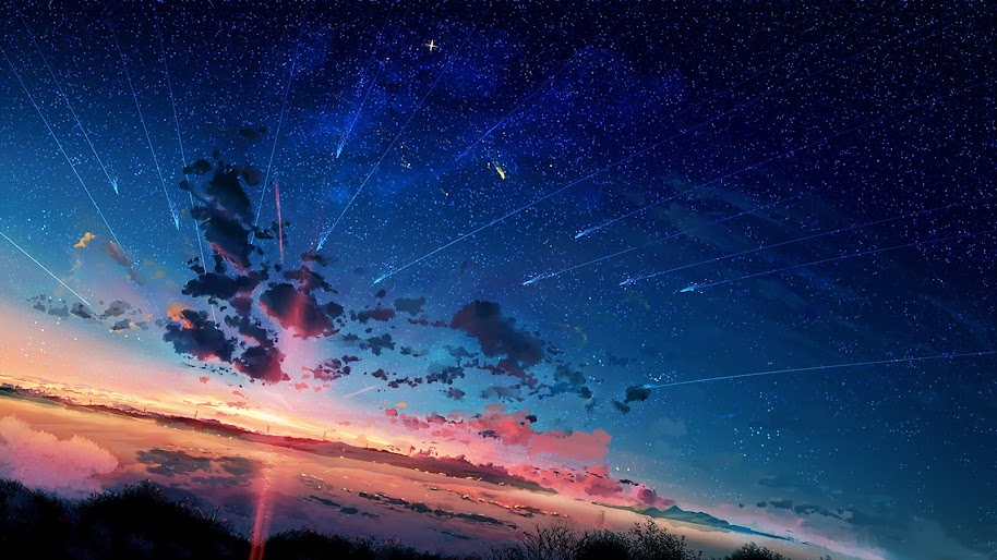 Anime, Scenery, Horizon, Shooting Star, Sunset, 4K ...