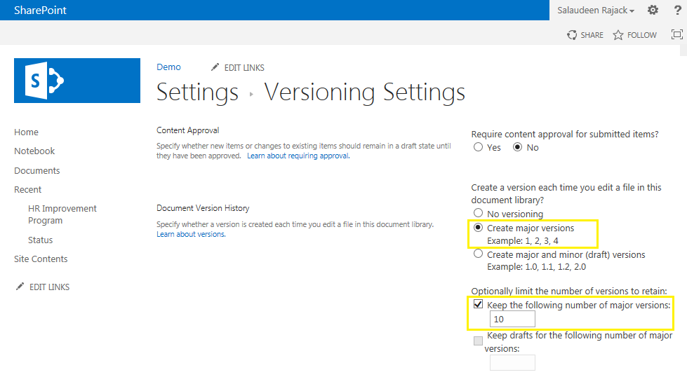 sharepoint enable versioning all document libraries