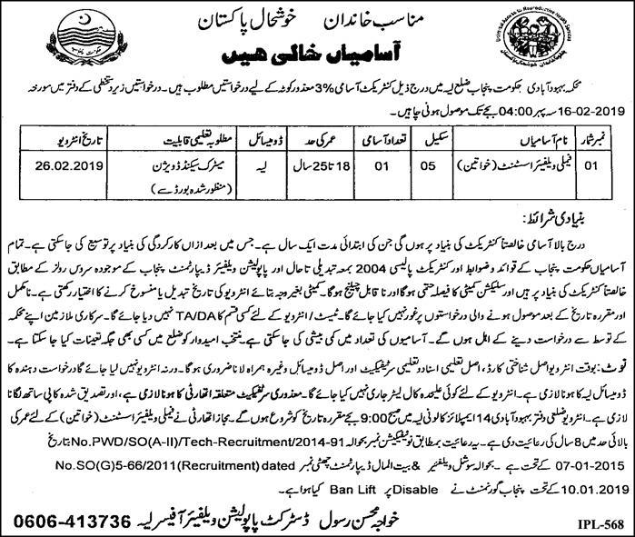 Jobs Vacancies In Population Welfare Department Govt Of Punjab 23 January 2019