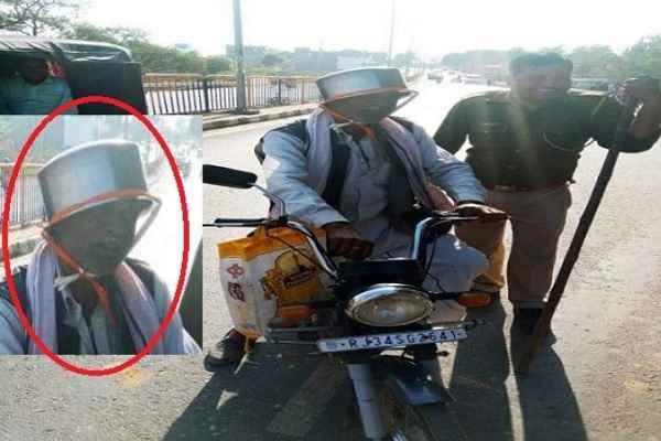 old-man-bear-pateela-jugadu-helmet-trending-on-social-media