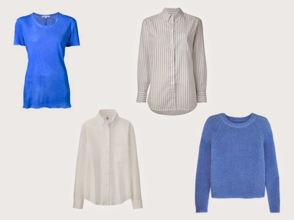 A Mileage Four in blue, grey and white: a tee shirt, white shirt, striped shirt, and blue sweater