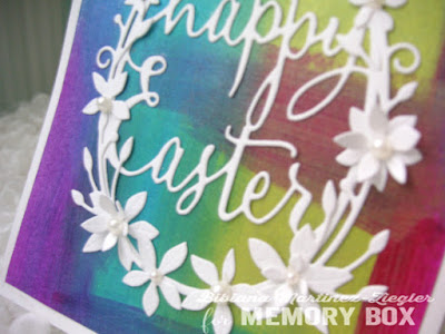 easter card with painted background detail