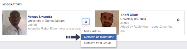 remove facebook group moderator