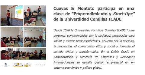 Borja Montoto, Socio Director de Cuevas y Montoto Consultores, participa en una clase de emprendimiento y start-ups en la Universidad Comillas ICADE.