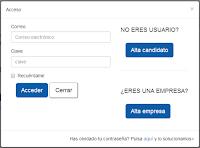 Acceder o registrarte en la web de empleo