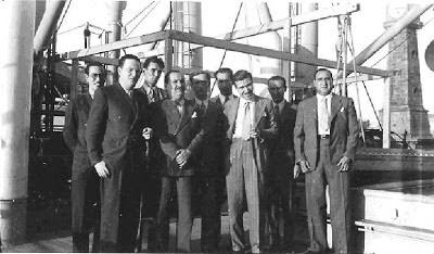 Los ajedrecistas argentinos Jacobo Bolbochán, Roberto Grau, Carlos H. Maderna e  Isaías Pleci