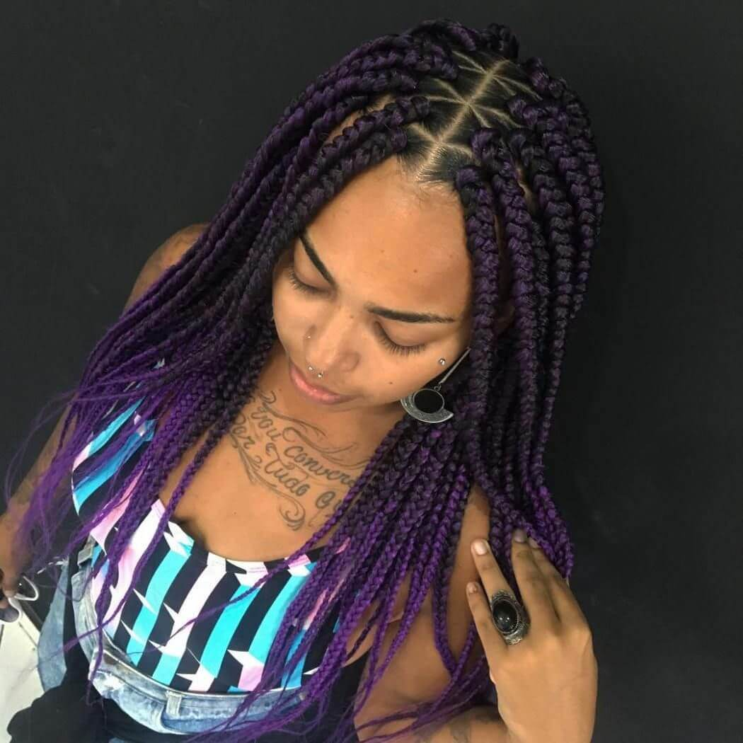 37 Unique Triangle Box Braids Hairstyles 2019 Funky For