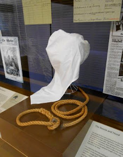 Replica hood and noose made by the Boggo Road Gaol Historical Society