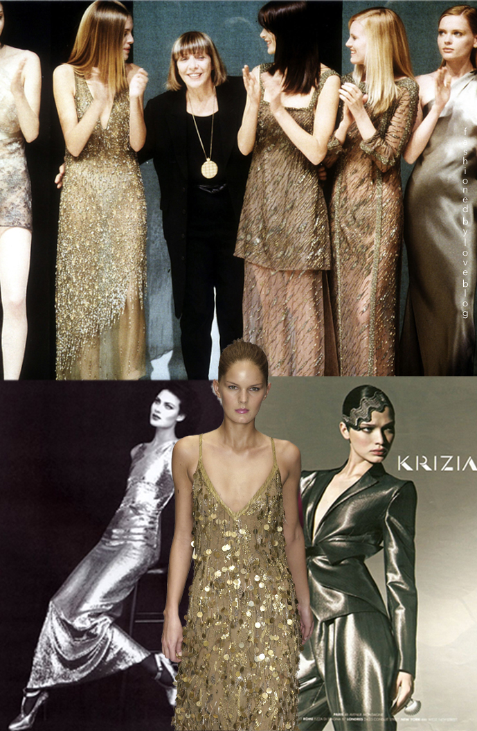 Krizia Oro / Krizia Gold on a runway in 2004, Shalom Harlow wearing Krizia in Harper's Bazaar 1995 (photography: Patrick Demarchelier) & Krizia Fall/Winter 2010 campaign / Mariuccia Mandelli biography via www.fashionedbylove.co.uk
