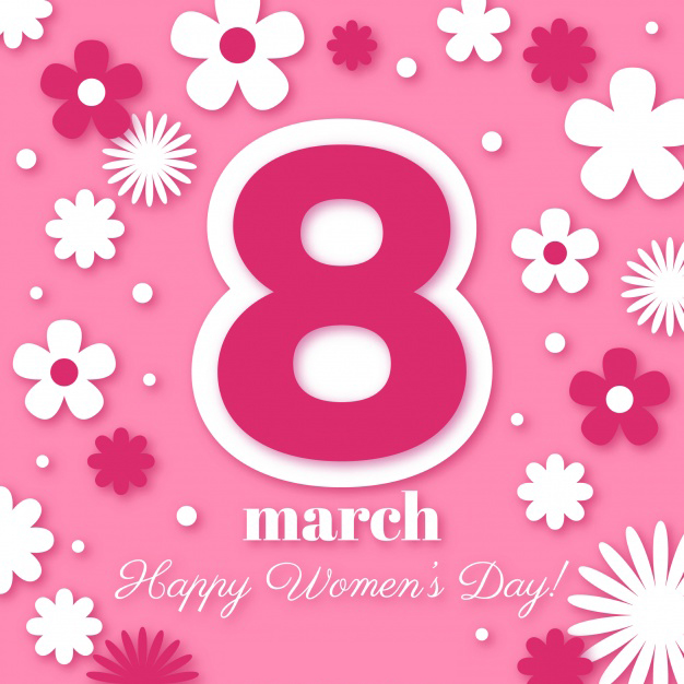 Floral women's day 8 march background Free Vector