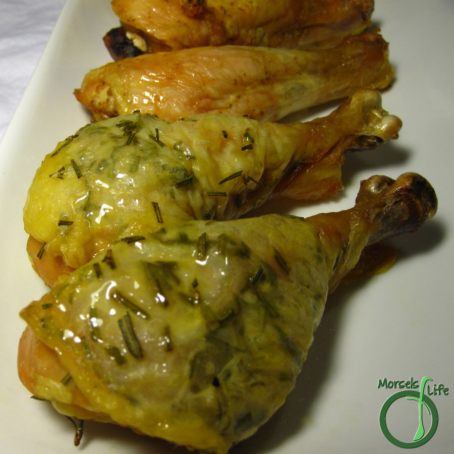 Morsels of Life - An easy method for oven-baked rosemary drumsticks encased in crispy skin.