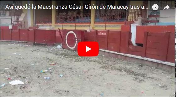 Chaburros destruyeron la Maestranza César Girón de Maracay durante mitin de Marcos Torres