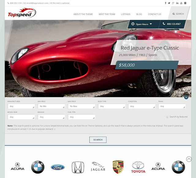 Plantilla WordPress para Rent Car