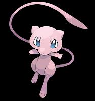 Imagen de Mew, Pokemon rosa de larga cola, ojos azules, cabeza más grande que tronco y manos pequeñas.