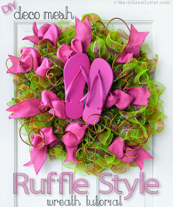 08e3bc652 Party Ideas by Mardi Gras Outlet  Flip Flop Ruffled Ribbon Wreath ...
