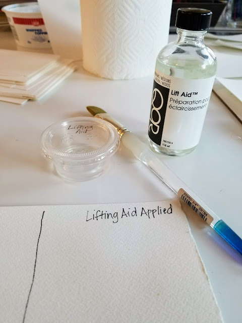 Testing lift aid on watercolor paper without sizing issue.