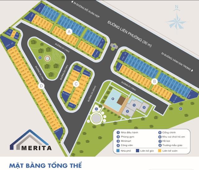 Sơ đồ phân lô nhà phố Merita Khang Điền Quận 9