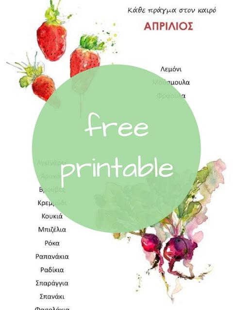 Τα φρούτα και λαχανικά του Απριλίου - Δωρεάν εκτυπώσιμος οδηγός