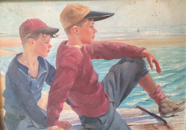 Two boys on the Maine Coast Oil Portrait by Francis J. Quirk