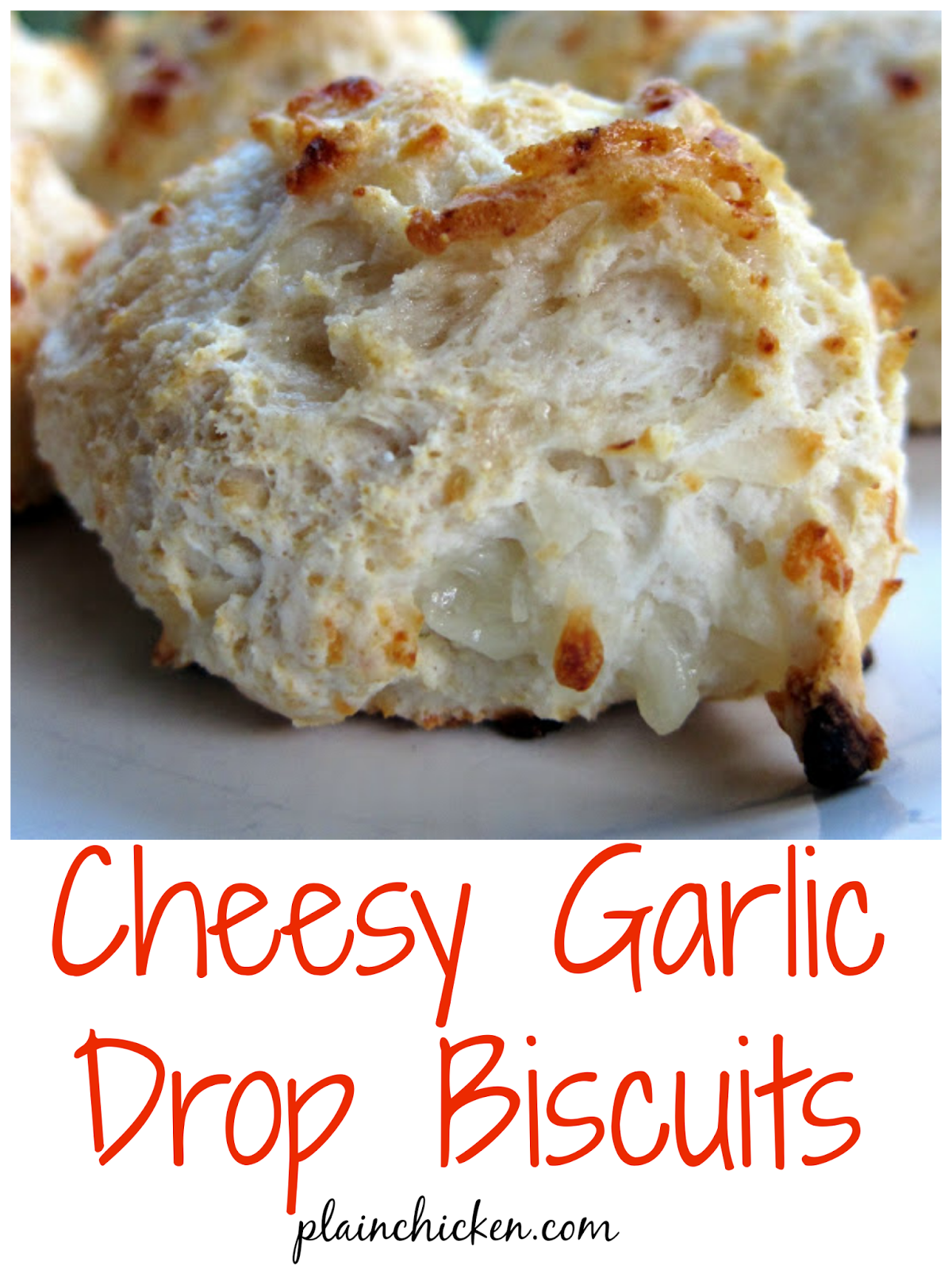 Cheesy Garlic Drop Biscuits - only 4 ingredients! Ready to eat in under 10 minutes!