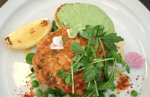 Crab Cakes with Charred Lime and Mint Sauce