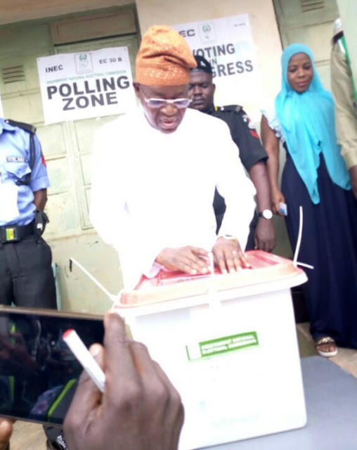 More Pictures From Osun State Election: APC Candidate, Gboyega Oyetola Casts His Vote