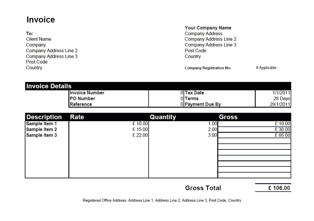 Download Free Simple Freelance Invoice Template